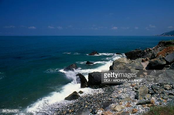 Rocks on the Black Sea between Trabzon and Hopa Turkey