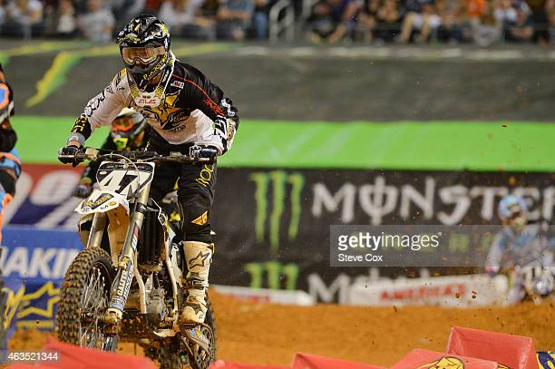 Rockstar Energy Husqvarna's Martin Davalos fell early in the 250cc main but still came back for ninth at the finish at the Monster Energy Supercross...