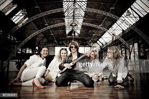 rockstar with groupies