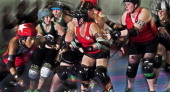 Rocktown Rollers' and DC Rollergirls battle it out on April 5 2014 during womens's flattrack Roller Derby at the Dulles Sportsplex in Sterling...