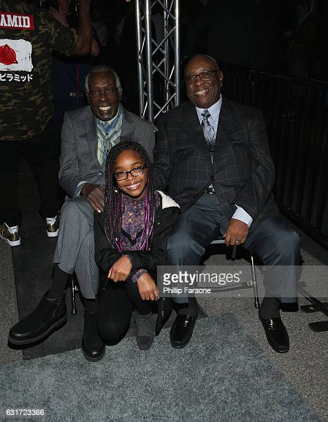 Rockwalk inductee Clyde Stubblefield actress Marsai Martin and Rockwalk inductee John 'Jab'o' Starks onstage during Guitar Center's 28th Annual...