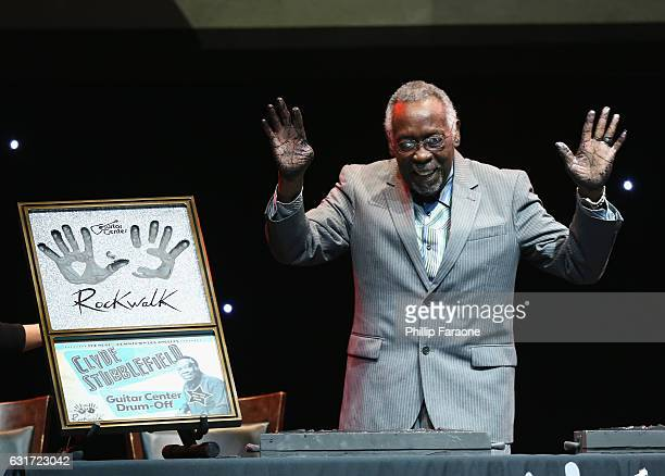 Rockwalk inductee Clyde Stubblefield onstages during Guitar Center's 28th Annual DrumOff Finals Event at The Novo by Microsoft on January 14 2017 in...
