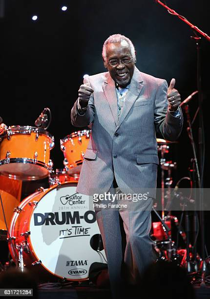 Rockwalk inductee Clyde Stubblefield speaks onstage during Guitar Center's 28th Annual DrumOff Finals Event at The Novo by Microsoft on January 14...