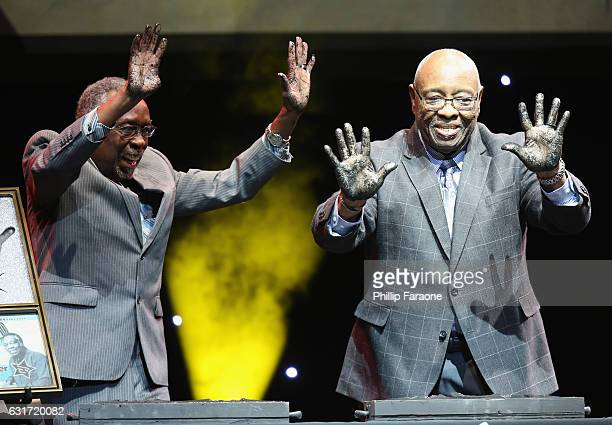 Rockwalk inductees Clyde Stubblefield and John 'Jab'o' Starks onstage during Guitar Center's 28th Annual DrumOff Finals Event at The Novo by...