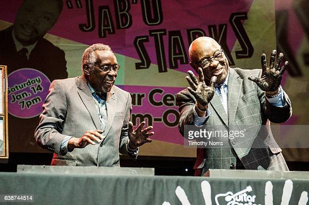 Rockwalk inductees Clyde Stubblefield and John 'JAB'O' Starks onstage during Guitar Center's 28th Annual DrumOff at The Novo by Microsoft on January...