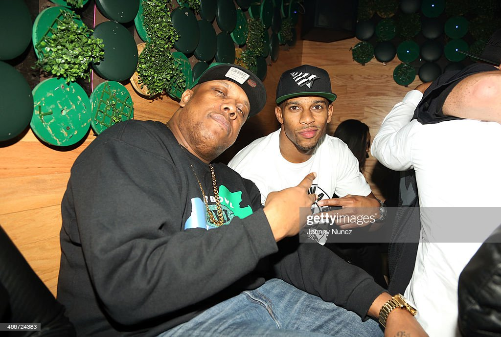 Rockwilder and <a gi-track='captionPersonalityLinkClicked' href=/galleries/search?phrase=Victor+Cruz+-+American+Football+Player&family=editorial&specificpeople=8736842 ng-click='$event.stopPropagation()'>Victor Cruz</a> attend Camron's KillaBowl at WIP on February 2, 2014 in New York City.