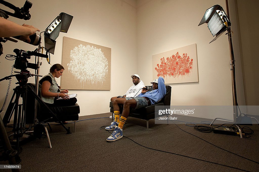 Rocky (R) and A$AP Ferg are interviewed during a filming for Music Choice's Take Back Your Music Campaign at Robischon Gallery on July 23, 2013 in Denver, Colorado.