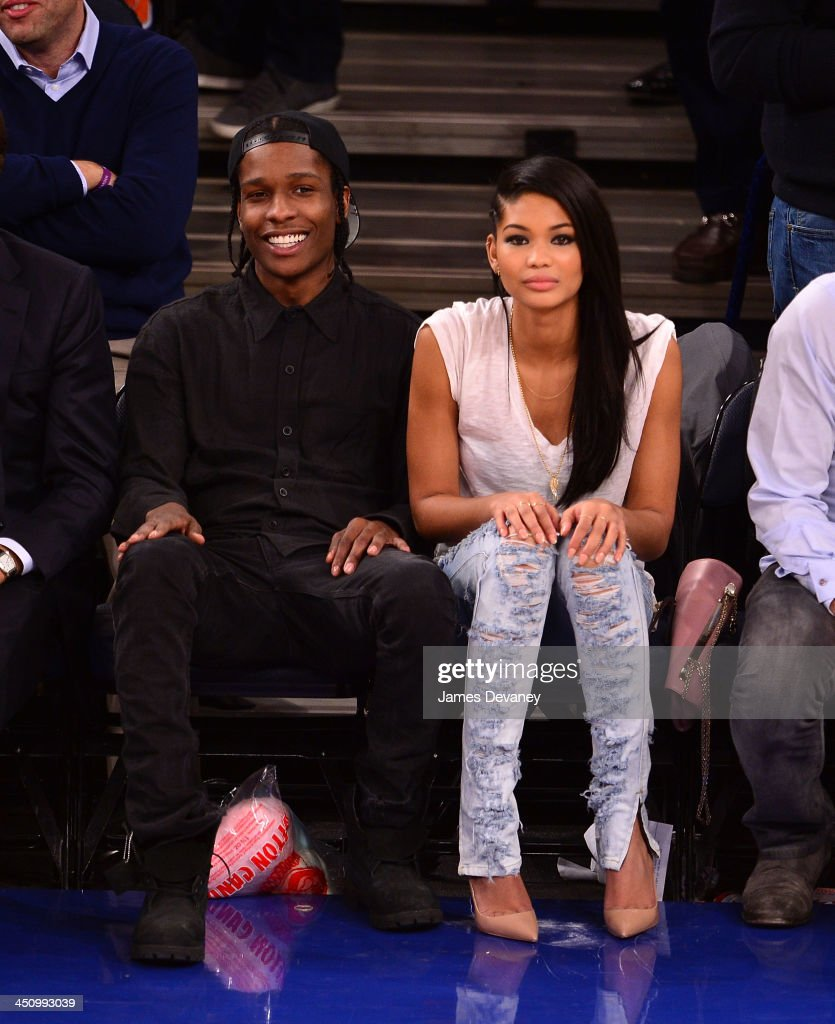 Rocky and <a gi-track='captionPersonalityLinkClicked' href=/galleries/search?phrase=Chanel+Iman&family=editorial&specificpeople=2905732 ng-click='$event.stopPropagation()'>Chanel Iman</a> attend the Indiana Pacers vs New York Knicks game at Madison Square Garden on November 20, 2013 in New York City.