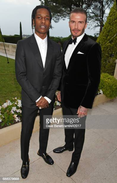 A$AP Rocky and David Beckham arrive at the amfAR Gala Cannes 2017 at Hotel du CapEdenRoc on May 25 2017 in Cap d'Antibes France