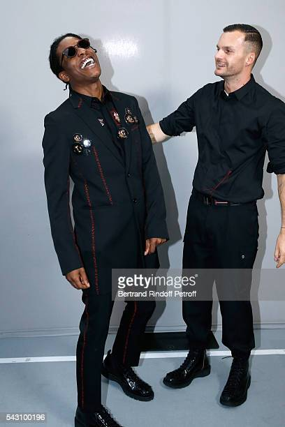 A$AP Rocky and Fashion designer Kris Van Assche pose Backstage after the Dior Homme Menswear Spring/Summer 2017 show as part of Paris Fashion Week on...