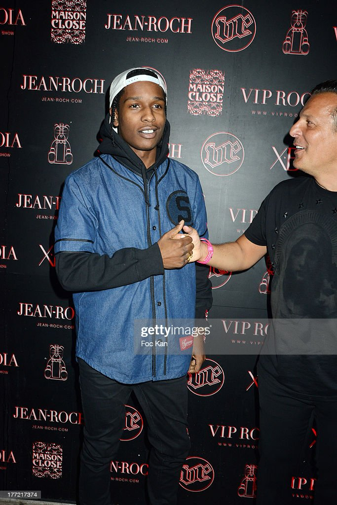 Rocky and Jean Roch Pedri attend the ASAP Rocky Party at the VIP Room on August 21, 2013 in Saint Tropez, France.