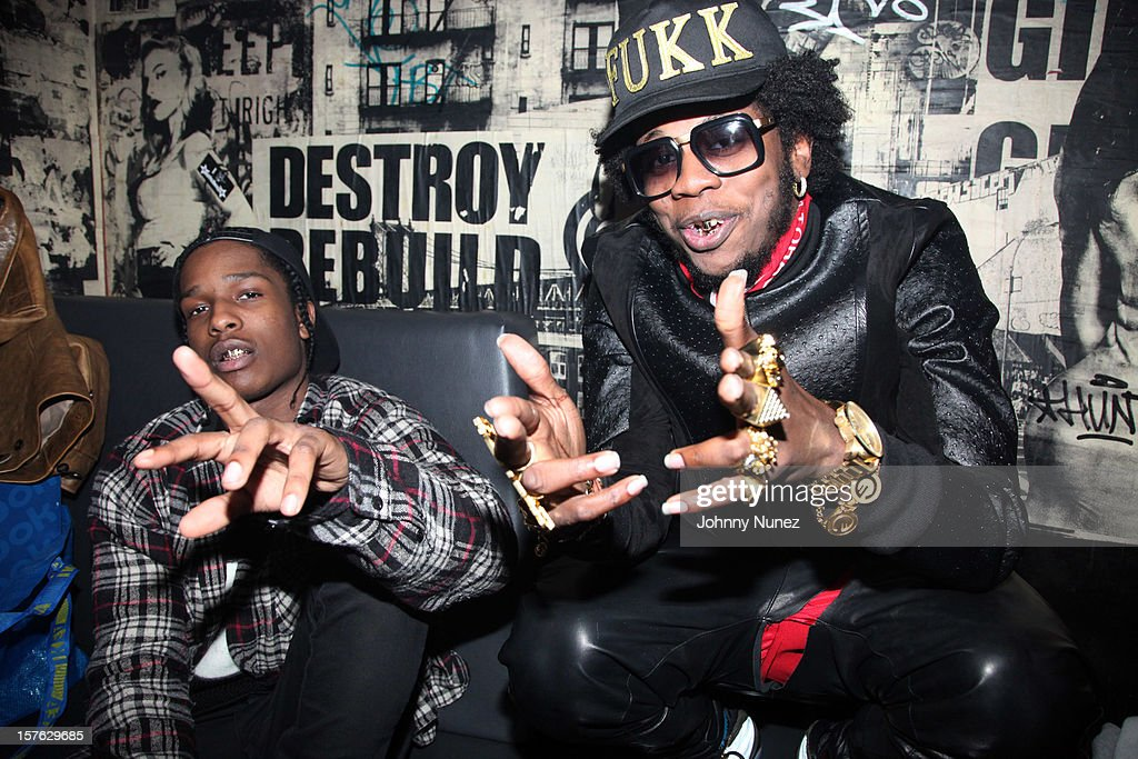 Rocky and Trinidad James backstage at Santos Party House on December 4, 2012 in New York City.
