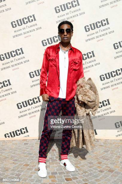 Rocky arrives at the Gucci show during Milan Fashion Week Spring/Summer 2018 on September 20 2017 in Milan Italy