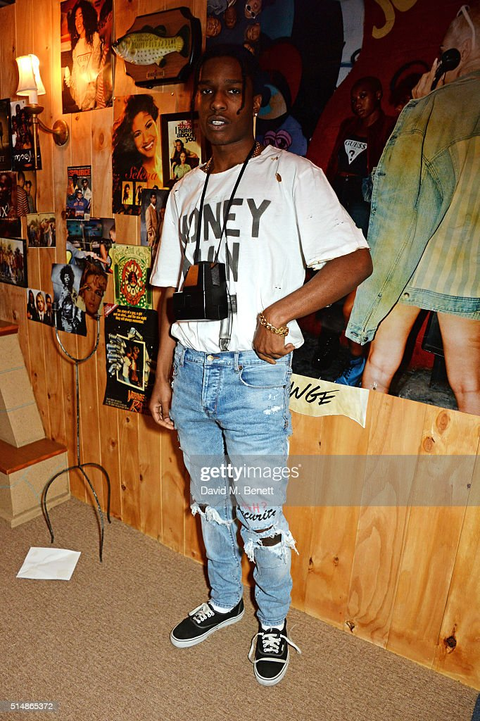 Rocky attends the launch of 1st GUESS Originals X A$AP Rocky collection within Selfridges on March 11, 2016 in London, England.