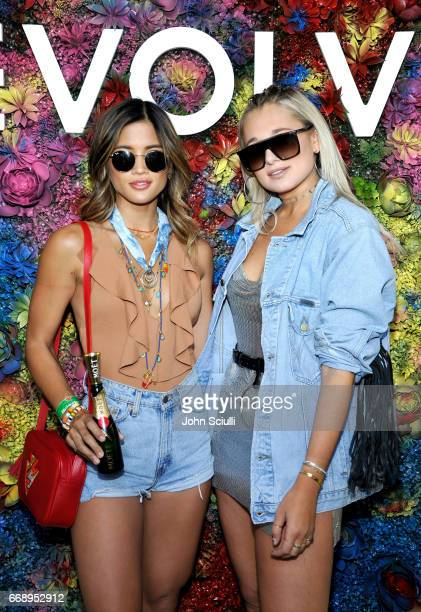 Rocky Barnes and Danielle Bernstein attend #REVOLVEfestival at Coachella with Moet Chandon on April 15 2017 in La Quinta CA Merv Griffin Estate