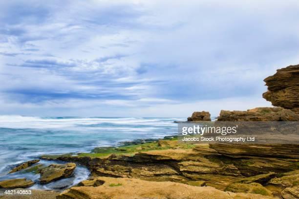 Rocky beach along ocean