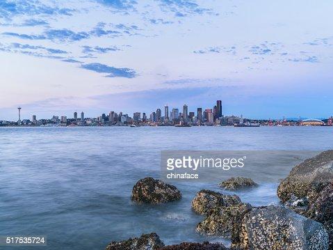 rocky beach in sunset, puget sound, alki beach, Seattle, usa