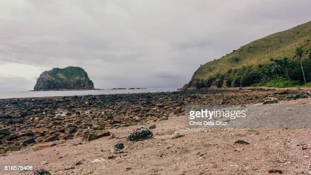 Rocky beach with overcast sky
