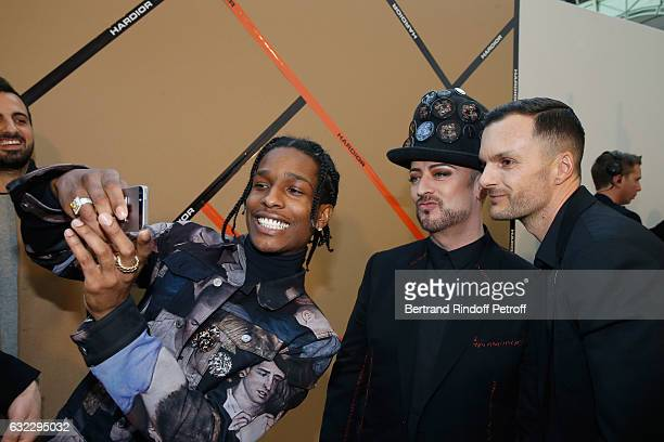 ASAP Rocky Boy George and Stylist Kris Van Assche pose backstage after the Dior Homme Menswear Fall/Winter 20172018 show as part of Paris Fashion...