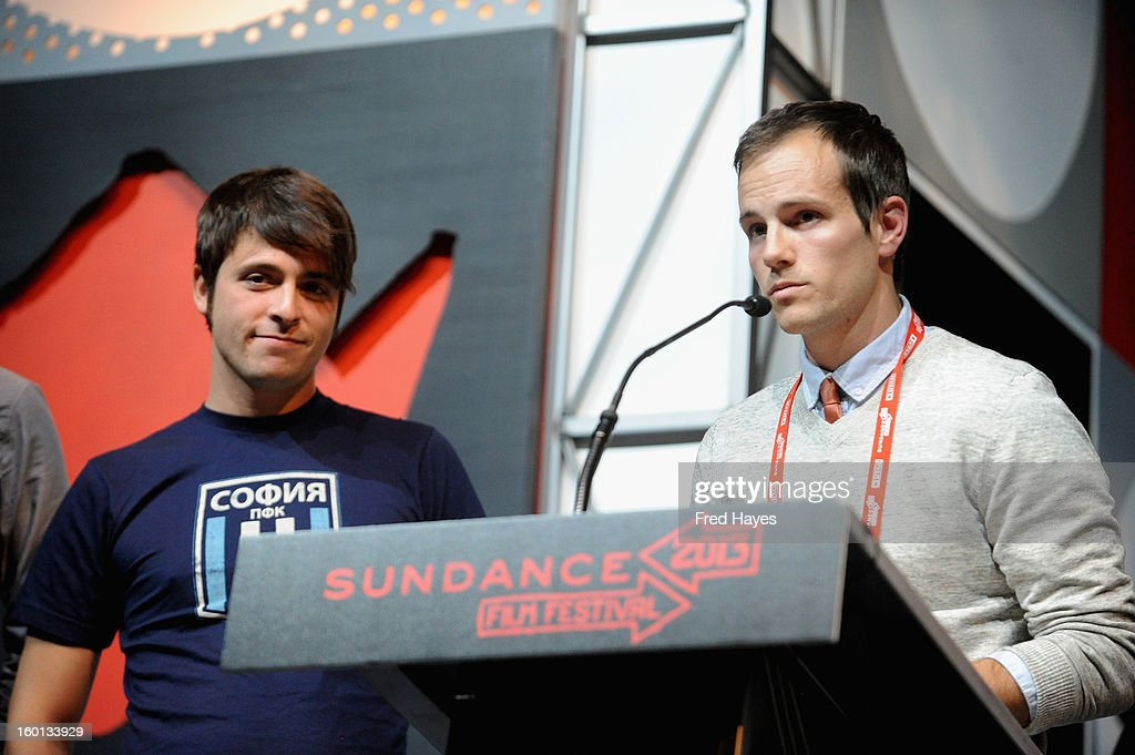 Rocky Braat and Steve Hoover accept Winner of the U.S. Grand Jury Prize: Documentary for Blood Brother onstage at the Awards Night Ceremony during the 2013 Sundance Film Festival at Basin Recreation Field House on January 26, 2013 in Park City, Utah.