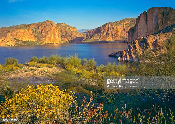 Rocky cliffs and shores of Arizona in spring