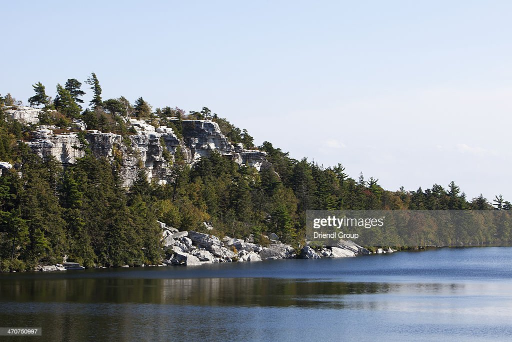 Rocky cliffs surrounding Lake Minnewaska.