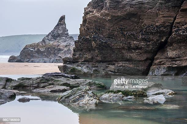 Rocky coastline at Bedruthan steps, Cornwall