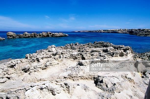 Rocky coastline near Es Pujols Formentera Balearic Islands Spain
