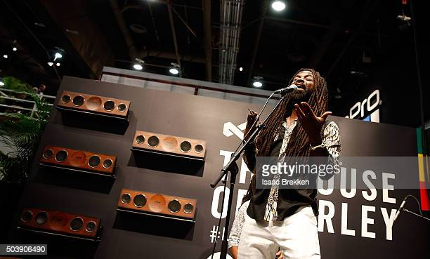 Rocky Dawuni performs at the House of Marley booth during CES 2016 at the Las Vegas Convention Center on January 7 2016 in Las Vegas Nevada