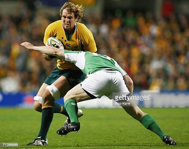 Rocky Elsom of the Wallabies looks to get tackled by Girvan Dempsey of Ireland during the Lansdowne Cup match between the Australian Wallabies and...
