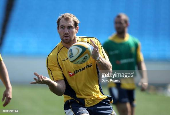 Rocky Elsom the Wallaby captain passes the ball during the Australian Wallabies Captain's Run held at Loftus Versfeld on August 27 2010 in Pretoria...