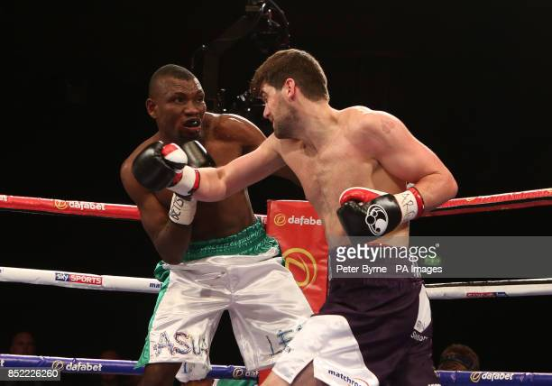 Rocky Fielding and Mohammed Akrong in action during the vacant Commonwealth Supermiddleweight Title bout at Liverpool Olympia Liverpool
