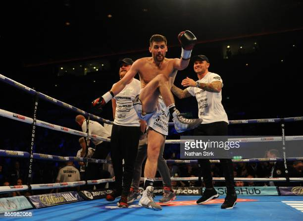 Rocky Fielding celebrates after beating David Brophy during the Battle on the Mersey SuperSuperBritish and Commonwealth SuperMiddleweight...