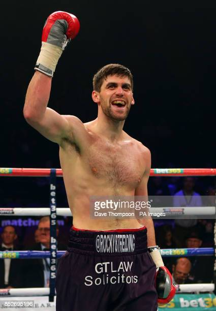 Rocky Fielding celebrates after knocking out Luke Blackledge during their Commonwealth Super Middleweight Title fight at the Phones 4u Arena...