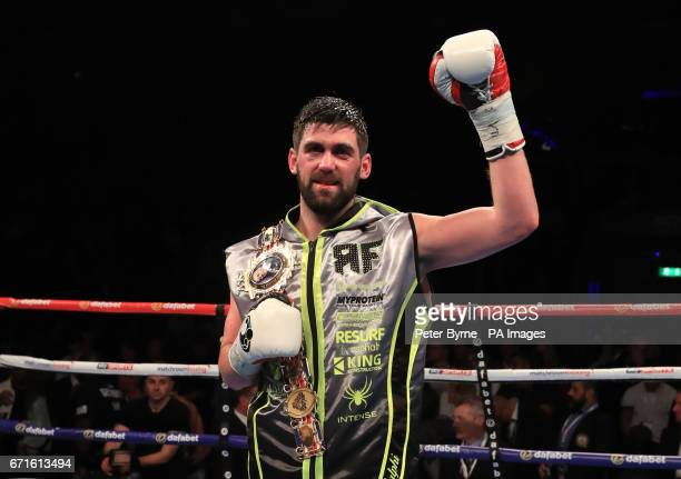 Rocky Fielding celebrates beating John Ryder during their British SuperMiddleweight Championship bout at Liverpool Echo Arena