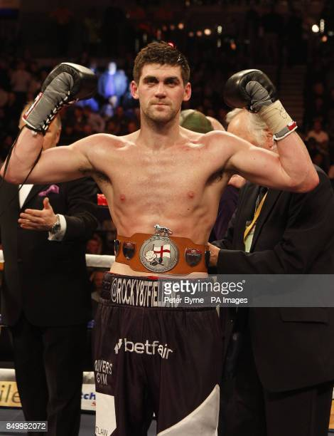 Rocky Fielding celebrates defeating Wayne Reed in their English Super Middleweight Title fight at the Echo Arena Liverpool