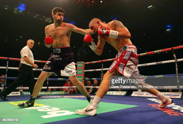 Rocky Fielding in action with Luke Blackledge during their Commonwealth Super Middleweight Title fight at the Phones 4u Arena Manchester