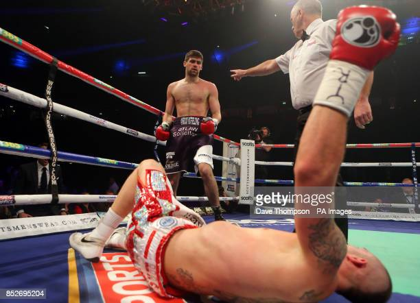 Rocky Fielding looks down at Luke Blackledge after knocking him out during their Commonwealth Super Middleweight Title fight at the Phones 4u Arena...