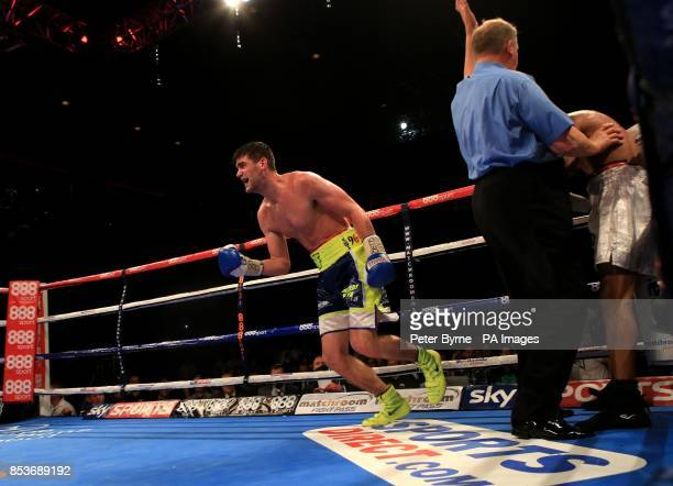 Rocky Fielding reacts after beating Noe Gonzalez Alcoba during their Super Middleweight bout at the Echo Arena Liverpool