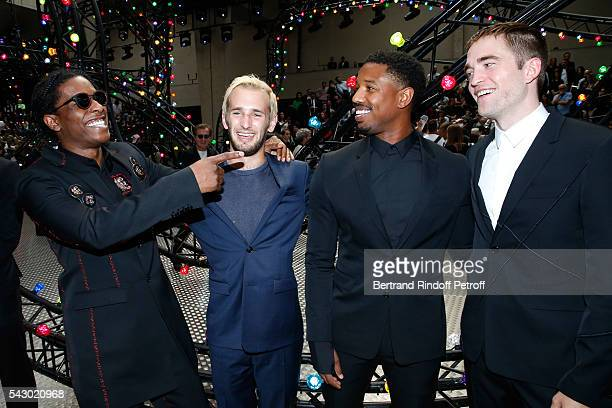 A$AP Rocky Hopper Jack Penn Michael B Jordan and Robert Pattinson attend the Dior Homme Menswear Spring/Summer 2017 show as part of Paris Fashion...