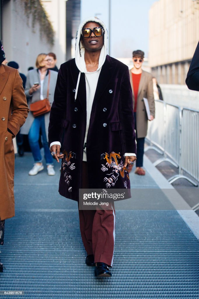 Rocky is seen outside the Gucci show during Milan Fashion Week Fall/Winter 2017/18 on February 22, 2017 in Milan, Italy.