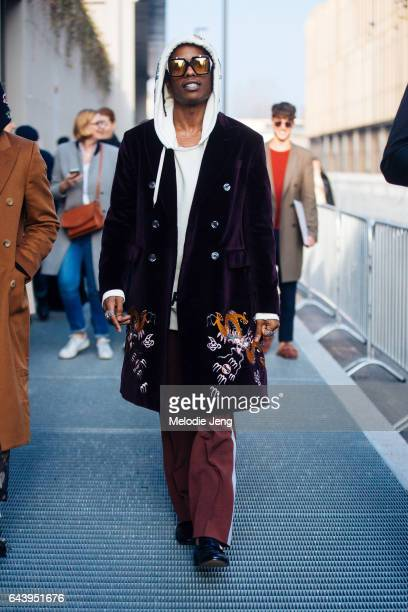 Rocky is seen outside the Gucci show during Milan Fashion Week Fall/Winter 2017/18 on February 22 2017 in Milan Italy