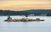 Rocky island in archipelago of Turku, Finland. Dawn