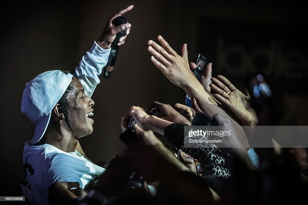 Rocky jumps into the crowd during his show at Brixton Academy on May 21, 2013 in London, England.