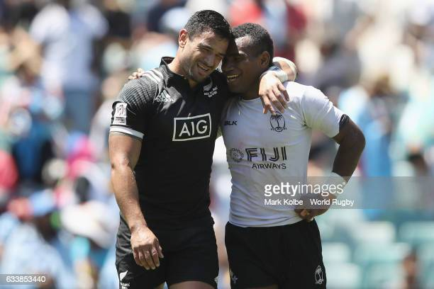 Rocky Khan of New Zealand and Jerry Tuwai of Fiji embrace after the Quarter final match between Fiji and New Zealand in the 2017 HSBC Sydney Sevens...