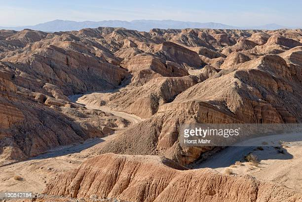 Rocky landscape with canyon and river bed, Anza Borrego Desert at the S 22, Borrego Springs, Southern California, USA