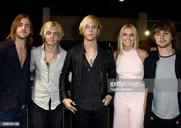 Rocky Lynch Ross Lynch Riker Lynch Rydel Lynch and Ellington Ratliff of R5 attend the 2015 iHeartRadio Music Awards which broadcasted live on NBC...