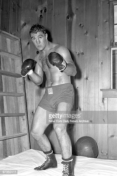 Rocky Marciano at Grossinger NY where he is in training for the title bout with Joe Walcott