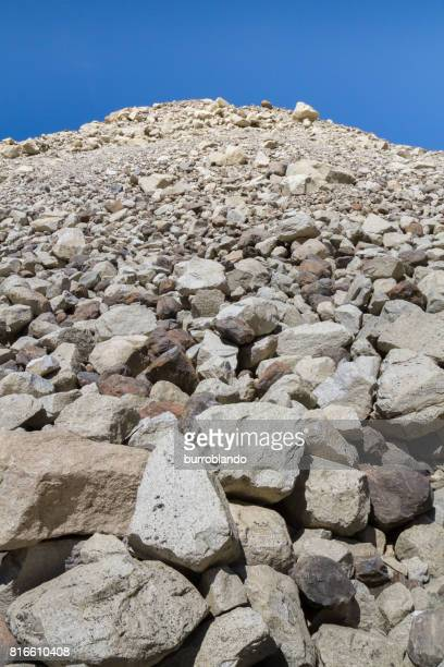 A rocky morraine stretches to the top of a mountain  in the patagonian andes in Argentinian Patagonia, South America