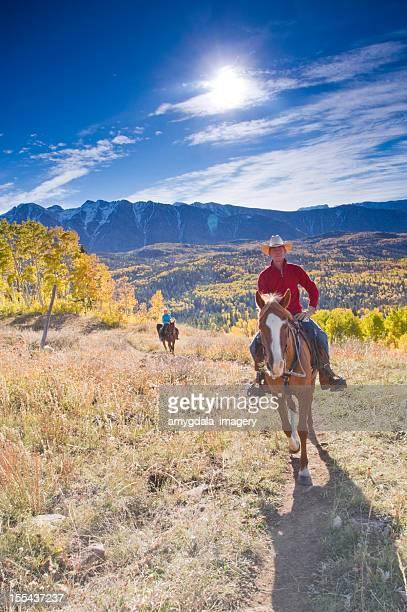 rocky mountain horseback autumn landscape
